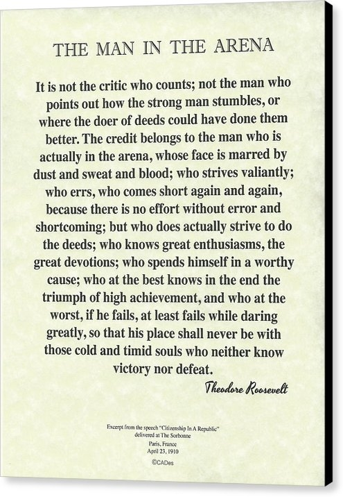 Desiderata Gallery - The Man In The Arena by Theodore Roosevelt on Parchment