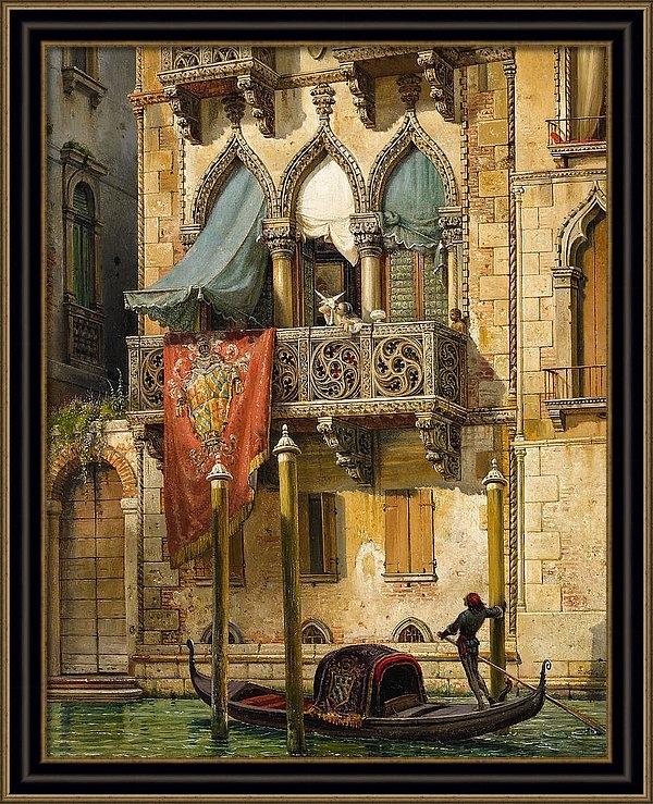 Friedrich Nerly - Palazzo Contarini in Venice. House of Desdemona