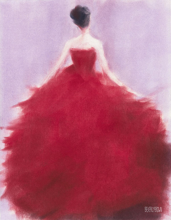 Beverly Brown Prints - The Red Evening Dress