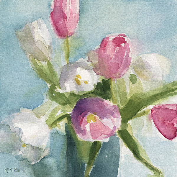 Beverly Brown Prints - Pink and White Tulips