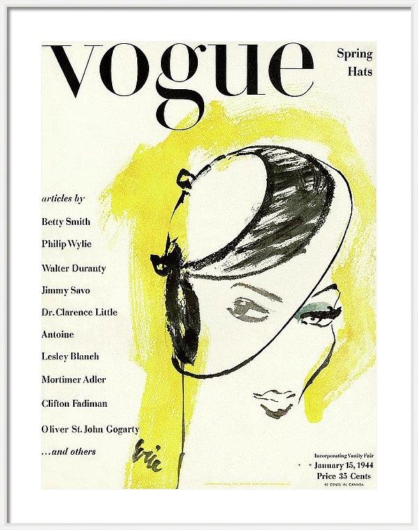 Carl Oscar August Erickson - Vogue Cover Illustration Of A Woman's Head Half
