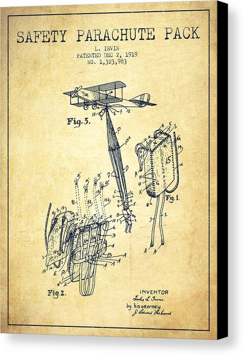 Aged Pixel - Safety parachute patent from 1919 - Vintage
