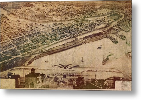 Design Turnpike - Traverse City Michigan Vintage 1879 Map Aerial View of Grand Traverse Bay on Worn Parchment