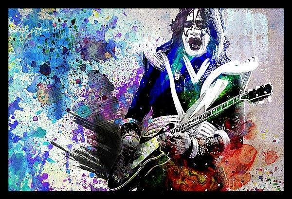 Ryan Rock Artist - Ace Frehley - Kiss Original Painting Print