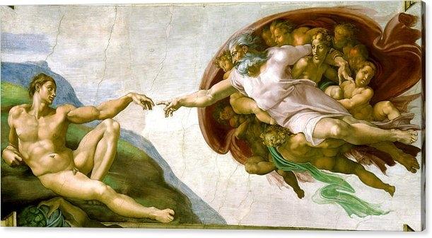 Michelangelo di Lodovico Buonarroti Simoni -   The Creation of Adam