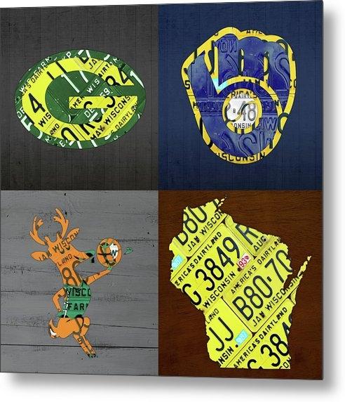 Design Turnpike - Wisconsin Sports Team License Plate Art Milwaukee Green Bay Plus Map Brewers Bucks Packers