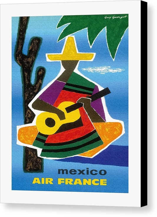 Retro Graphics - Mexico Air France Mexican Guitar Player in Sombrero and Pancho Vintage Travel Poster