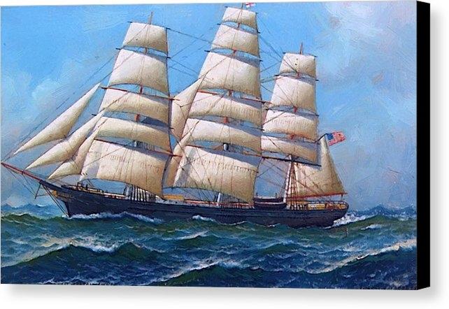 Jacobsen Antonio - The American Clipper Ship Gamecock Under Full Sail 1918