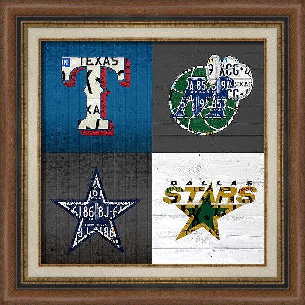 Design Turnpike - Dallas Sports Fan Recycled Vintage Texas License Plate Art Rangers Mavericks Cowboys Stars