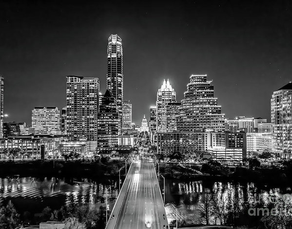Tod and Cynthia Grubbs - Austin Skyline in Black and White