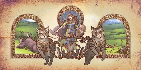Dani Kaulakis - Freya Driving Her Cat Chariot - Triptic Garbed version