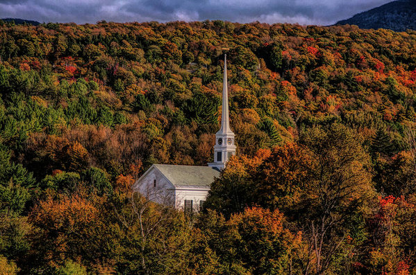 Jeff Folger - Stowe Church in fall colors