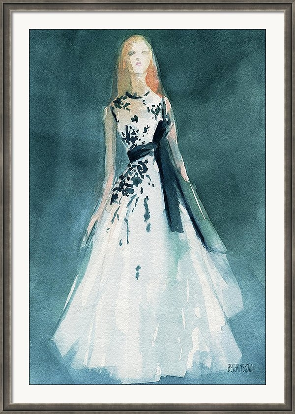 Beverly Brown Prints - Teal and White Evening Dress