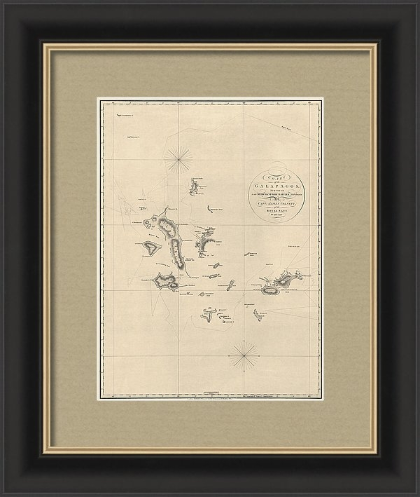 Blue Monocle - Antique Map of the Galapagos Islands by James Colnett - 1798