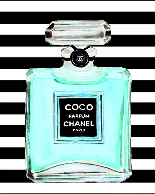 Del Art - Chanel perfume turquoise chanel poster chanel print