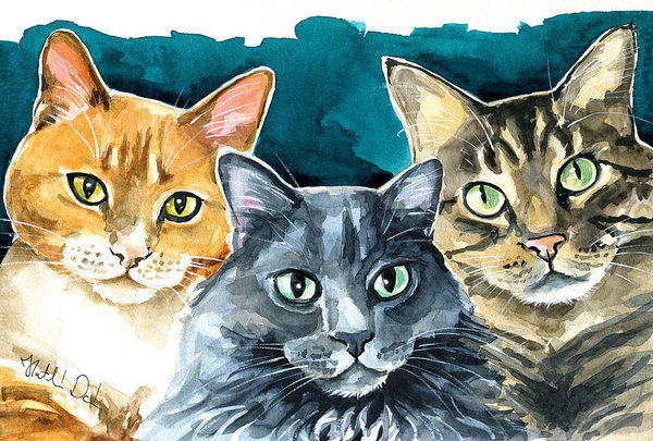 Dora Hathazi Mendes - Oliver, Willow and Walter - Cat Painting