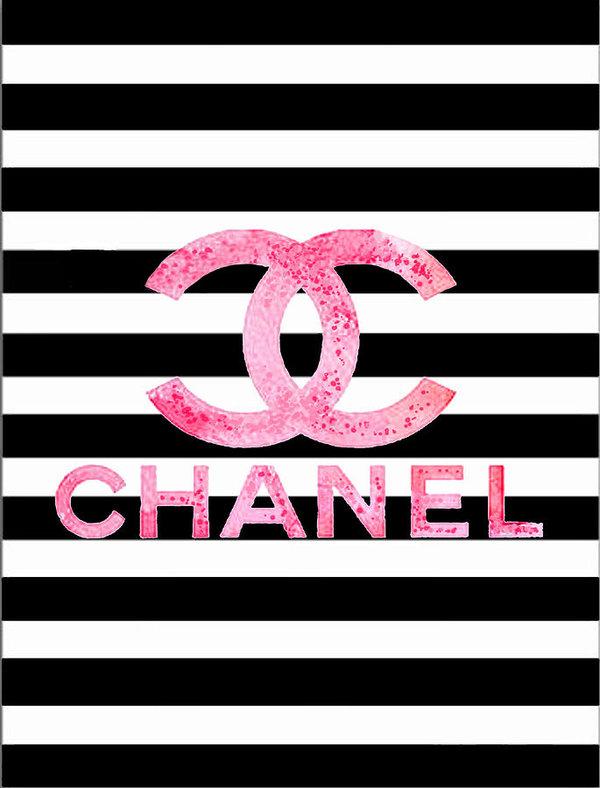 Del Art - Chanel pink logo on stripes