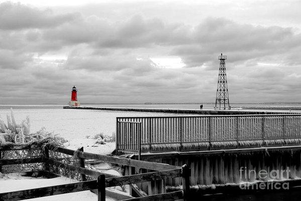 Mark J Seefeldt - Menominee North Pier Lighthouse on Ice