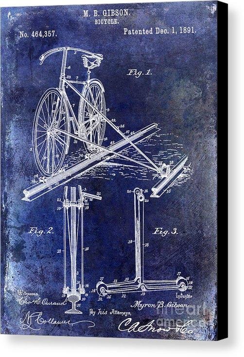 Jon Neidert - 1891 Bicycle Patent Drawing Blue