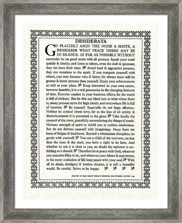 Desiderata Gallery - Gothic Trim Desiderata Poem