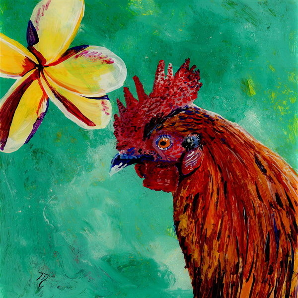 Marionette Taboniar - Rooster and Plumeria