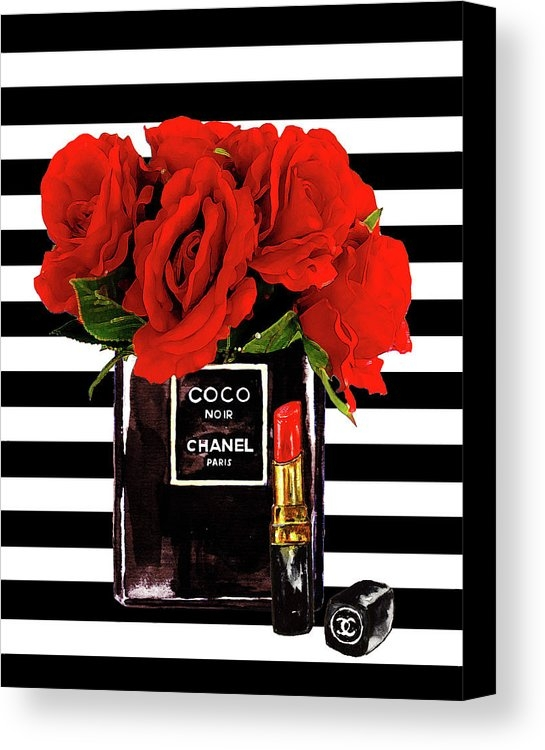 Del Art - Chanel Perfume With Red Roses