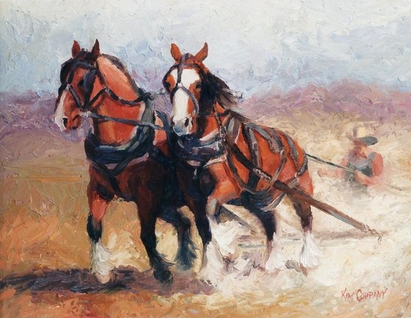 Kim Corpany - Pulling Contest Clydesdales Draft Horse Paintings