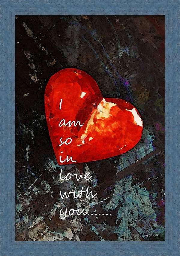 Sharon Cummings - So In Love With You - Romantic Red Heart Painting