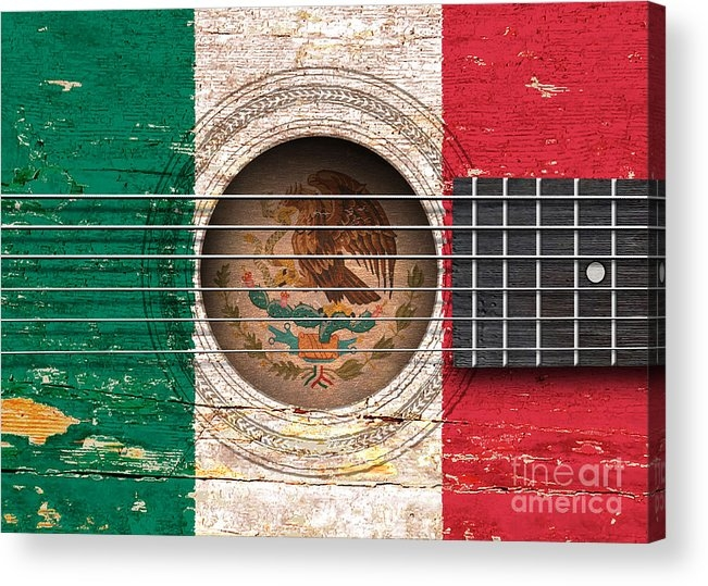 Jeff Bartels - Flag of Mexico on an Old Vintage Acoustic Guitar