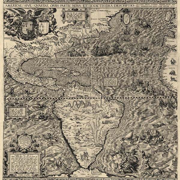 Blue Monocle - Antique Map of the Western Hemisphere by Diego Gutierrez - 1562