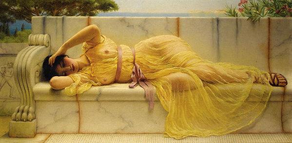 John William Godward - Girl in Yellow Drapery