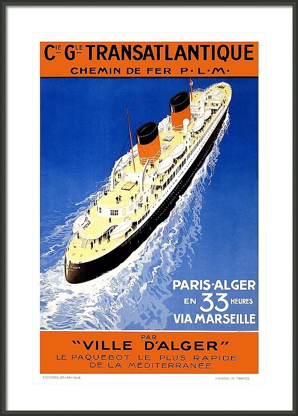 Studio Grafiikka - Cie Gle Transatlantique - Par Ville D'alger - Britishers - Retro travel Poster - Vintage Poster