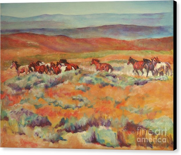 Karen Brenner - Mustangs Running Near White Mountain