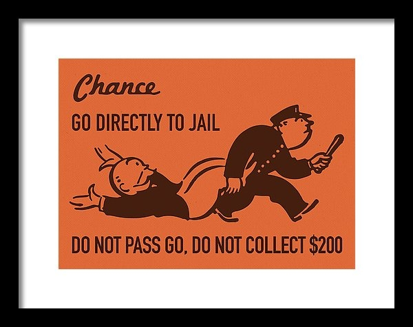 Design Turnpike - Chance Card Vintage Monopoly Go Directly To Jail