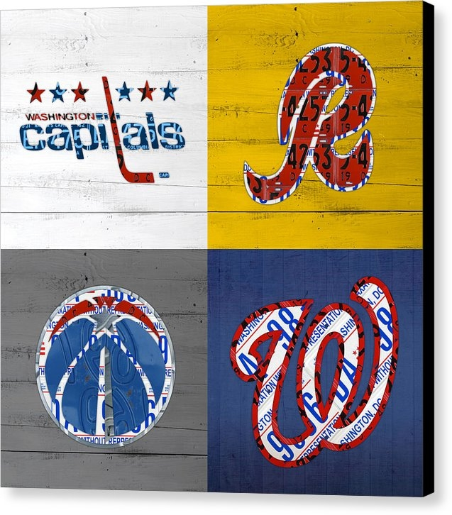 Design Turnpike - Washington DC Sports Fan Recycled Vintage License Plate Art Capitals Redskins Wizards Nationals