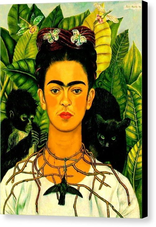 Pg Reproductions - Frida Kahlo Self Portrait With Thorn Necklace and Hummingbird