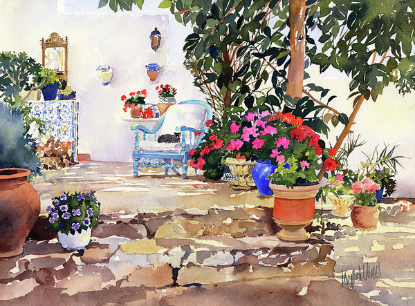 Margaret Merry - Utes Garden With Flowers and pots
