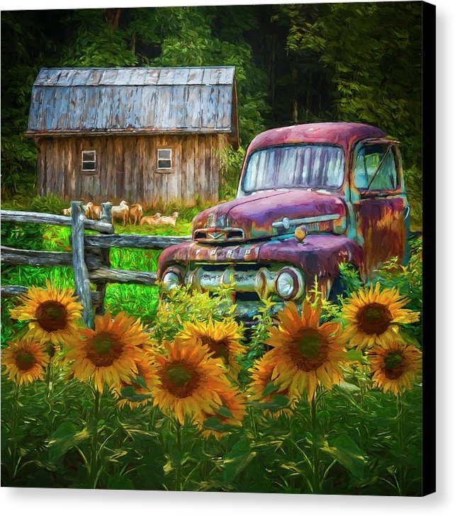Debra and Dave Vanderlaan - Take us for a Ride in the Sunflower Patch Oil Painting