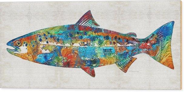 Sharon Cummings - Fish Art Print - Colorful Salmon - By Sharon Cummings