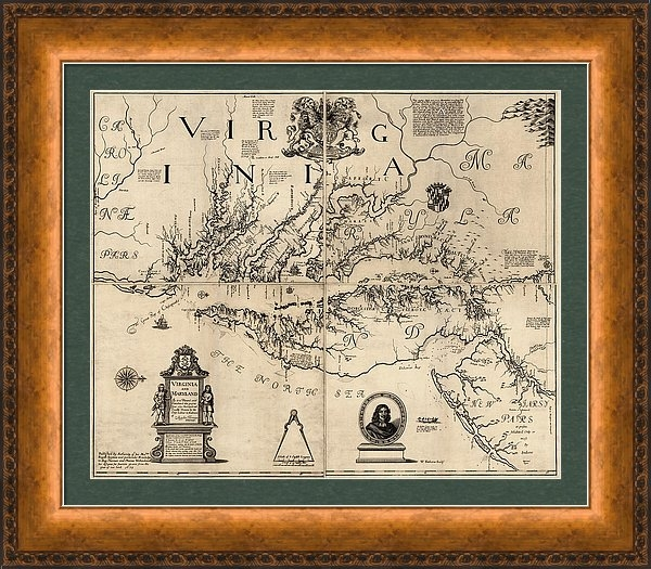 Blue Monocle - Antique Map of Virginia and Maryland by Augustine Herrman - 1673