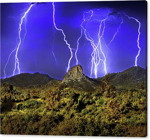 Don Schimmel - Thumb Butte, Electrical Storm, Prescott,arizona