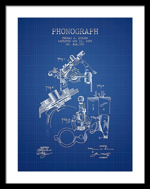 Aged Pixel - Thomas Edison Phonograph patent from 1889 - Blueprint