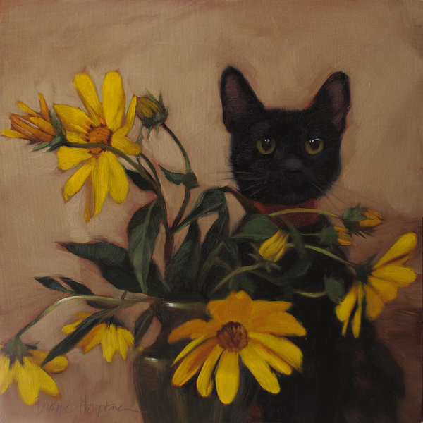 Diane Hoeptner - Black Kitten and Wildflowers