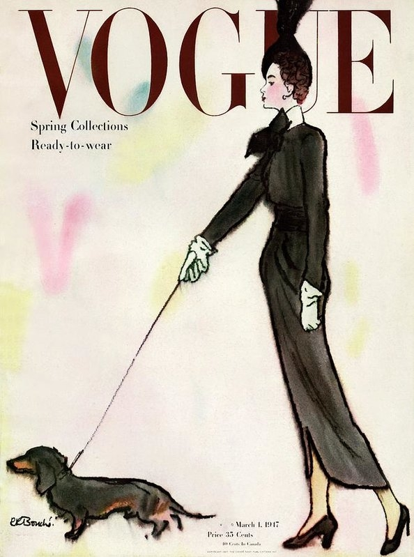 Rene R. Bouche - Vogue Cover Featuring A Woman Walking A Dog
