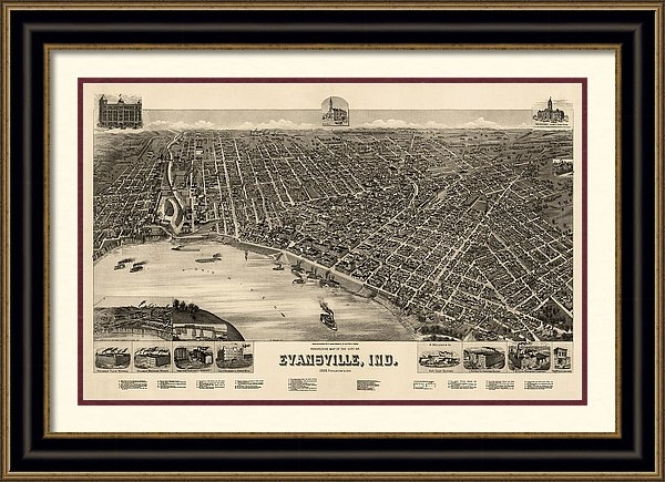Blue Monocle - Antique Map of Evansville Indiana by H. Wellge - 1888