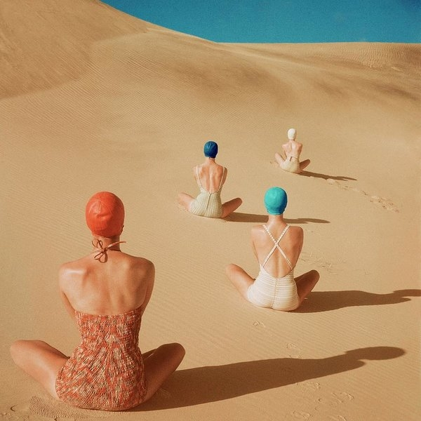 Clifford Coffin - Models Sitting On Sand Dunes