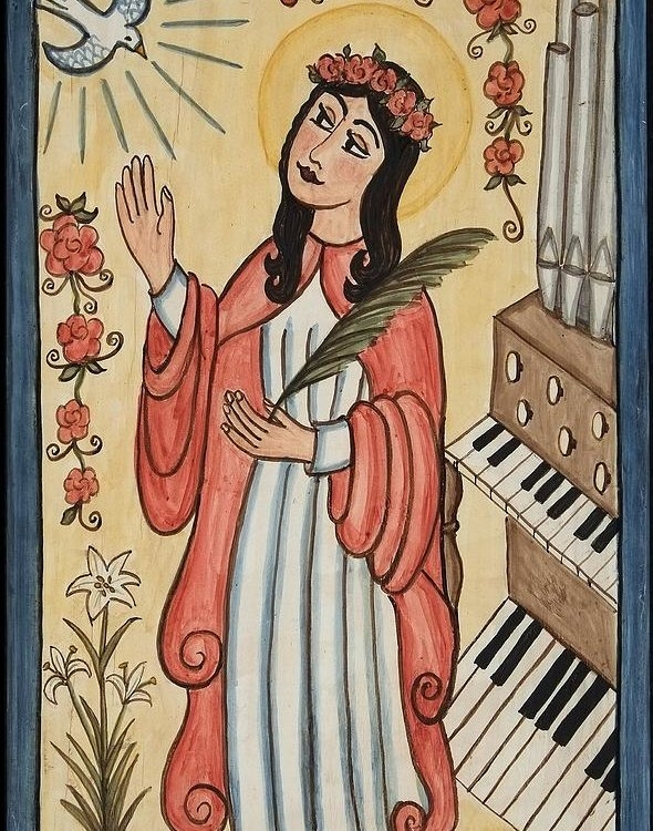 Ellen Chavez de Leitner - St. Cecilia with organ and dove