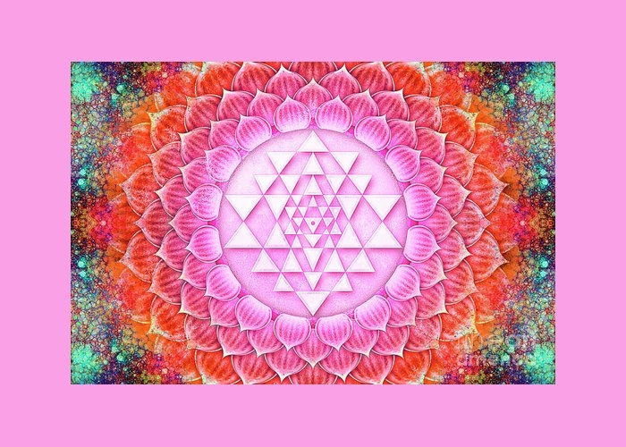 Sri Yantra - Lotus Greeting Card
