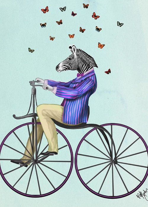 Zebra on a Bicycle Greeting Card
