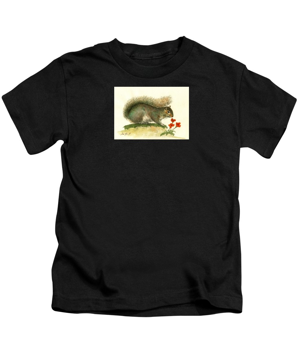 Gray squirrel flowers Youth T-Shirt